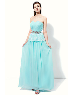 Floor-length Chiffon Sparkle & Shine / Elegant Bridesmaid Dress - A-line Sweetheart with Beading / Lace