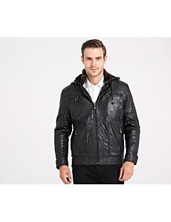 男性 カジュアル/普段着 冬 ソリッド ジャケット,ストリートファッション スタンド ブラック ポリウレタン 長袖 厚手