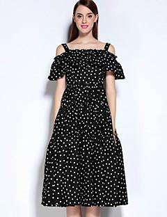 Mary Yan & Yu Women's Casual/Daily Vintage A Line DressPolka Dot Off Shoulder Midi Sleeveless Black Cotton / Polyester Fall Mid Rise Inelastic Medium