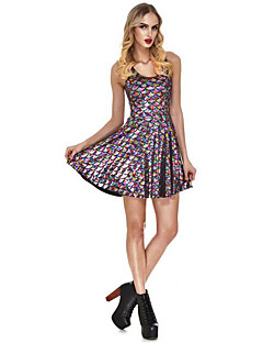 Women's Casual/Daily Simple Sheath Dress,Solid Round Neck Above Knee Sleeveless Blue Pink White Gray Green Purple Gold Silver Multi-color