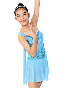 Balett Ruhák Női Gyermek Edzés Spandex Flitteres Fodor Ujjatlan Természetes