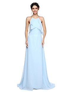 2017 Lanting Bride® Sweep / Brush Train Chiffon Beautiful Back Bridesmaid Dress - A-line Halter with Pleats