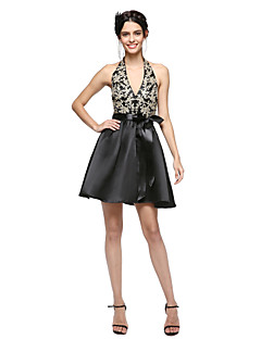 TS Couture Cocktail Party Prom Dress - Beautiful Back Little Black Dress A-line Halter Short / Mini Satin withAppliques Bow(s) Sash /