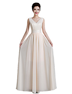 Floor-length Chiffon Mix & Match Sets Bridesmaid Dress - Sheath / Column V-neck with Appliques / Lace / Sash / Ribbon / Pleats / Bandage