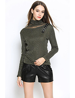 Women's Going out / Casual/Daily Sexy / Vintage / Simple Fall / Winter Shirt,Solid / Print Turtleneck Long Sleeve Black / Brown / Green