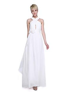 2017 Lanting Bride® Floor-length Chiffon Elegant Bridesmaid Dress - A-line Straps with Flower(s) / Criss Cross / Ruching