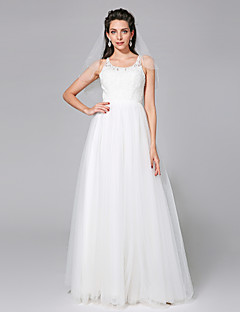 2017 Lanting Bride® A-line Wedding Dress - Chic & Modern / Elegant & Luxurious Simply Sublime Floor-length Scoop Tulle with Beading