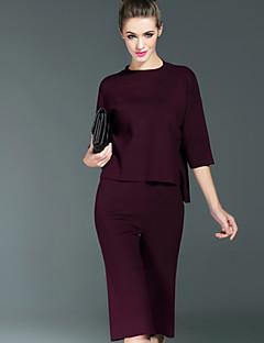 אחיד צווארון עגול פשוטה יום יומי\קז'ואל סט מכנס חליפות נשים,סתיו אורך שרוול ¾ שחור אפור סגול פוליאסטר