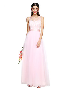 A-Line Jewel Neck Floor Length Tulle Bridesmaid Dress with Appliques Sash / Ribbon Ruching by LAN TING BRIDE®
