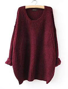 Dame Simpel I-byen-tøj Afslappet/Hverdag Normal Pullover Ensfarvet,Rød Brun Grå Grøn Rund hals Langærmet Akryl Efterår Tynd Mikroelastisk