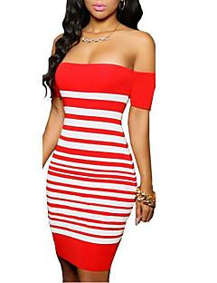 Dámské Jednoduché Běžné/Denní Bodycon Šaty Proužky,Krátký rukáv Úzký výstřih Mini Červená Polyester Jaro / Podzim Mid Rise Lehce elastické