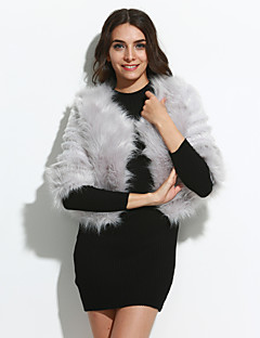 Women Solid Round Collar Three Quarter Sleeve Faux Fur Short Outerwear