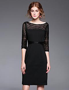 Damen Hülle Kleid-Ausgehen Party/Cocktail Anspruchsvoll Stickerei U-Ausschnitt Übers Knie ½ Länge Ärmel Rot Weiß Schwarz LilaPolyester