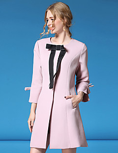 Women's Going out Casual/Daily Cute Coat,Solid Round Neck Long Sleeve Fall Winter Pink Black Polyester Spandex Medium