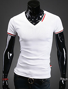 Men's Casual White/Black/Gray/Blue Short Sleeve V Neck T-shirt