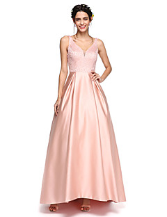 2017 Lanting Bride® Asymmetrical Satin Sparkle & Shine Bridesmaid Dress - A-line V-neck with Beading