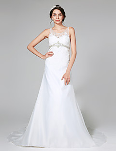 2017 Lanting Bride® A-line Wedding Dress - Classic & Timeless Open Back Court Train Scoop Organza with Appliques / Beading / Button