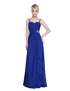 Lanting Bride® עד הריצפה שיפון אלגנטי שמלה לשושבינה  - מעטפת \ עמוד רצועות עם חרוזים קפלים בד בהצלבה סלסולים