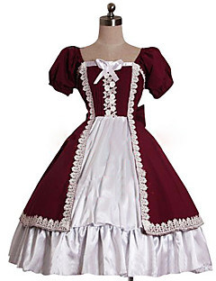 One-Piece/Dress Sweet Lolita Rococo Cosplay Lolita Dress Solid Puff/Balloon Short Sleeve Knee-length Dress For Cotton