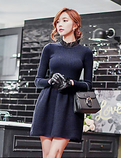 Women's Going out Casual/Daily Holiday Vintage Simple Sophisticated A Line Sheath Sweater Dress,Solid Patchwork Ruffle Ruched Crew Neck