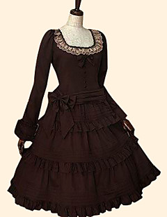 /שמלותחתיכה אחת לוליטה מתוקה רוקוקו Cosplay שמלות לוליטה אדום שנהב Coffee אחיד שרוול ארוך אורךTea שמלה ל נשים כותנה