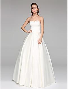Lanting Bride® נשף שמלת כלה  - קלסי ונצחי שני חלקים עד הריצפה סירה תחרה סאטן עם אפליקציות חרוזים