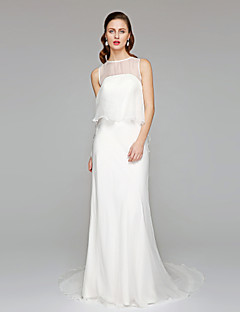 Sheath / Column Jewel Chapel Train Chiffon Wedding Dress with Ruffle by LAN TING BRIDE®