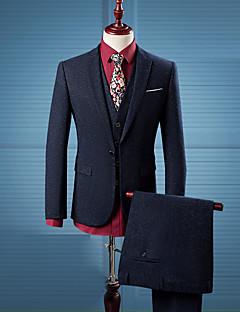 דפוס דש קלאסי פשוטה סגנון רחוב יום יומי\קז'ואל עבודה חליפות גברים,כל העונות שרוול ארוך כחול כותנה