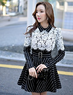 DABUWAWA Women's Lace/Fine Stripe Going out Casual/Daily Holiday Vintage Sophisticated Sheath Little Black Swing DressStriped Color Block Patchwork