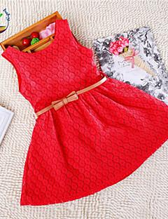 Mädchen Kleid Jacquard Baumwollmischung Sommer Rosa / Lila / Rot