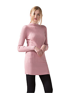 Women's Casual/Daily Formal Work Sexy Sophisticated Short Pullover,Solid Pink Red White Black Gray Round Neck Long Sleeve Polyester Nylon