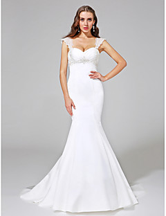 2017 Lanting Bride® Trumpet / Mermaid Wedding Dress - Classic & Timeless Open Back Court Train Straps Satin with Beading / Criss-Cross