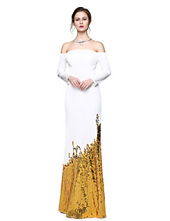 2017 TS Couture® Formal Evening Dress - Sparkle & Shine Celebrity Style Sheath / Column Strapless Floor-length Sequined Jersey withSequins