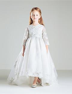 נסיכה עד הריצפה שמלה לנערת הפרחים  - כותנה אורגנזה שרוול 4\3 עם תכשיטים עם אפליקציות חרוזים פפיון(ים) ריקמה
