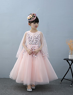 A-line Ankle-length Flower Girl Dress - Tulle Charmeuse Sleeveless Jewel with Beading Flower(s) Lace Sash / Ribbon