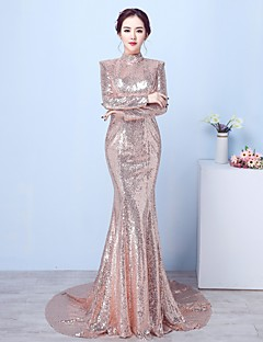 Mermaid / Trumpet High Neck Court Train Sequined Formal Evening Dress with Sequins by HQY