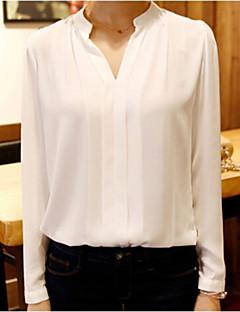 Polyester Hvit Medium Langermet,V-hals Bluse Ensfarget Vår Enkel Arbeid Dame