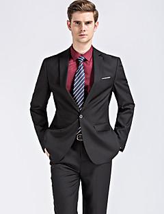 男性 カジュアル/普段着 ワーク プラスサイズ オールシーズン スーツ,シンプル ストリートファッション ノッチドラペル ソリッド ブルー ブラック コットン 長袖