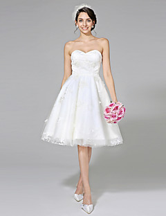Lanting Bride® A-linje Brudekjole - Chic og moderne Små Hvide Kjoler Knælang Kæreste Blondelukning Tyl med Blonde