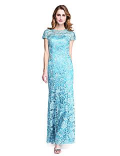 Lanting Bride® מעטפת \ עמוד שמלה לאם הכלה  - שקוף עד הריצפה שרוול קצר תחרה  -  תחרה