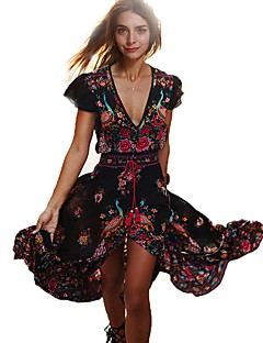 Women's Going out / Beach Vintage Swing Floral Deep V Maxi Dress