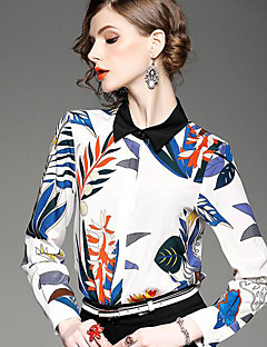 Dames Sexy Vintage Eenvoudig Lente Herfst Overhemd,Casual/Dagelijks Vakantie Effen Ronde hals Lange mouw Wit Rayon