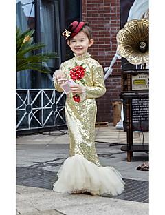 Ball Gown Floor-length Flower Girl Dress - Charmeuse 3/4 Length Sleeve V-neck with Bow(s) / Sash / Ribbon