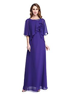 Lanting Bride® מעטפת \ עמוד שמלה לאם הכלה  - גב פתוח אלגנטי עד הריצפה חצי שרוול שיפון  -  חרוזים