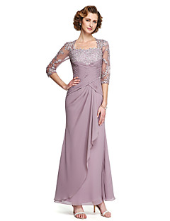 LAN TING BRIDE Sheath / Column Mother of the Bride Dress - Elegant Ankle-length Half Sleeve Chiffon Lace with Appliques Criss Cross