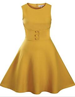 Sukienka swingowa Sukienka Damskie Codzienne Prosta Jendolity kolor,Okrągły dekolt Do kolan Bez rękawów Niebieski Czarny Zielony Żółtyq