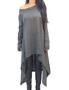 Feminino Camiseta Casual Esportivo Simples Activo Outono Inverno,Sólido Vermelho Preto Cinza Poliéster Elastano Decote Canoa Manga Longa