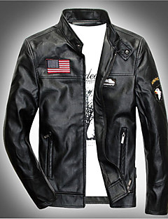 Men's Casual/Daily Simple / Punk & Gothic Leather Jackets,Print Long Sleeve Black Acrylic