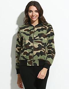 Langærmet Høj krave Damer Kort camouflage Forår Efterår Vintage Street I-byen-tøj Jakke,Polyester