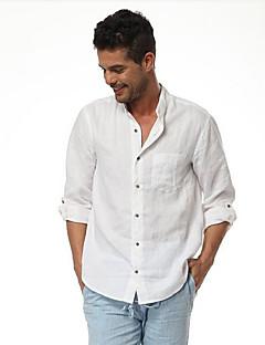 Muži Jednobarevné Běžné/Denní Aktivní Košile Podšívka Stojáček Krátký rukáv Bílá Čiré